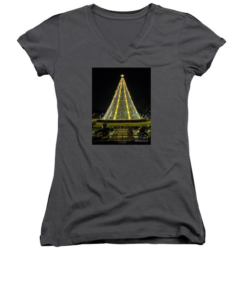National Christmas Tree #2 Women's V-Neck T-Shirt (Junior Cut) by Sandy Molinaro