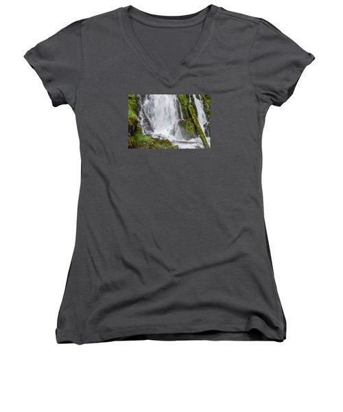 National Falls 2 Women's V-Neck T-Shirt (Junior Cut) by Greg Nyquist