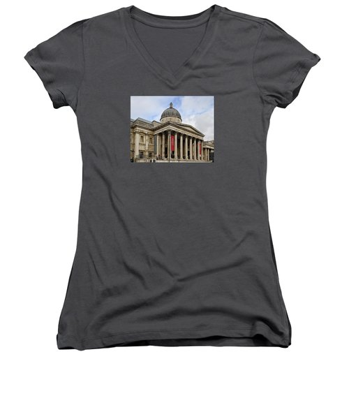 Women's V-Neck T-Shirt (Junior Cut) featuring the photograph National Gallery London by Shirley Mitchell