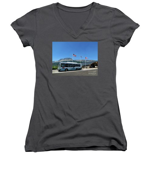 Women's V-Neck T-Shirt featuring the photograph National Parks. St. Mary Visitor Center At Glacier by Ausra Huntington nee Paulauskaite