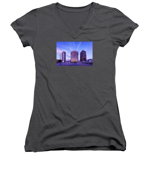 Nationwide Plaza Evening Women's V-Neck T-Shirt (Junior Cut) by Alan Raasch