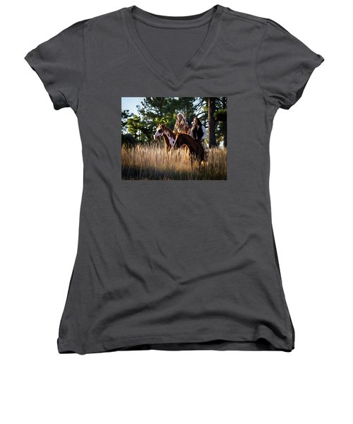 Native Americans On Horses In The Morning Light Women's V-Neck