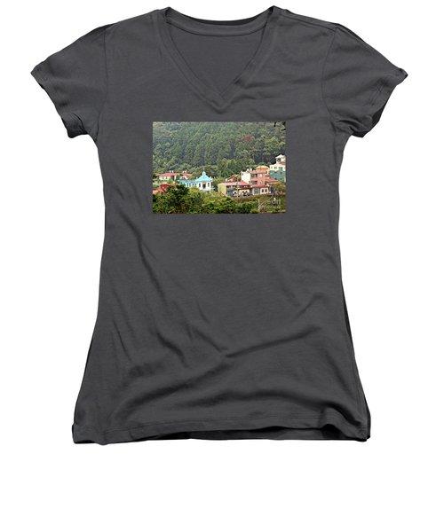 Women's V-Neck T-Shirt (Junior Cut) featuring the photograph Native Village In Taiwan by Yali Shi
