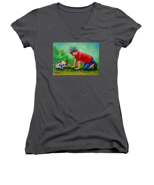 Women's V-Neck T-Shirt (Junior Cut) featuring the painting Natural Wonder by Margaret Stockdale