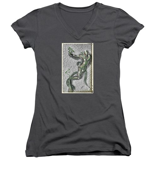 Women's V-Neck T-Shirt (Junior Cut) featuring the digital art Nature And Man by Darren Cannell
