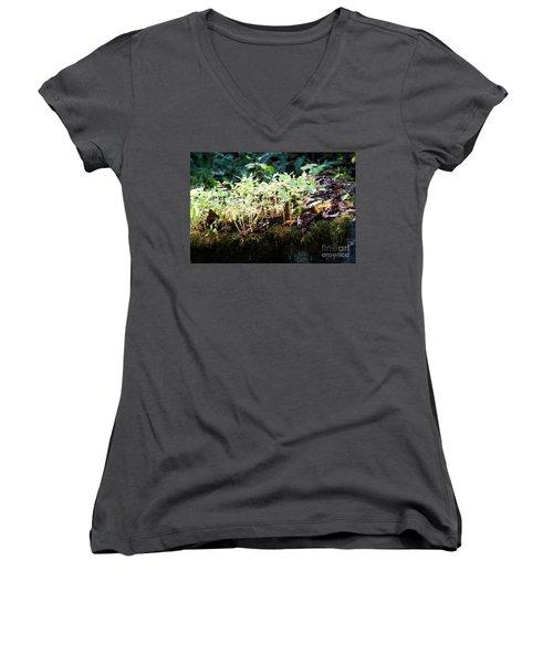 Nature Finds A Way Women's V-Neck T-Shirt (Junior Cut) by Rebecca Davis