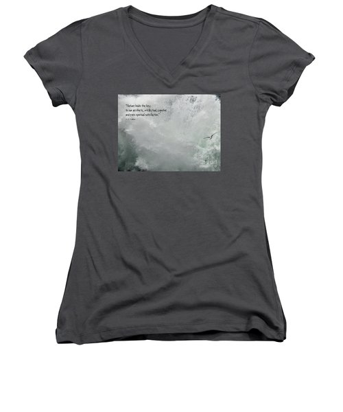 Women's V-Neck T-Shirt featuring the photograph Nature Holds The Key by Peggy Hughes