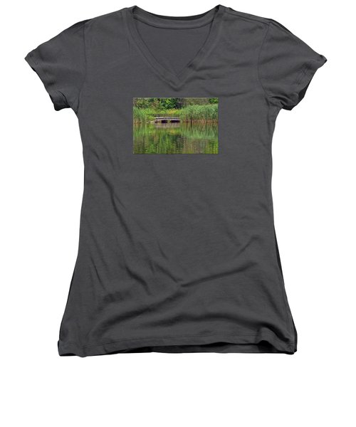 Nature In Green Women's V-Neck T-Shirt (Junior Cut)