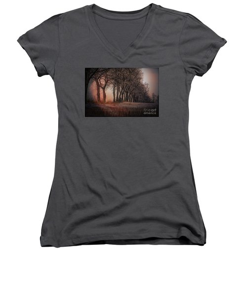 Nature Winter Bare Trees Color  Women's V-Neck