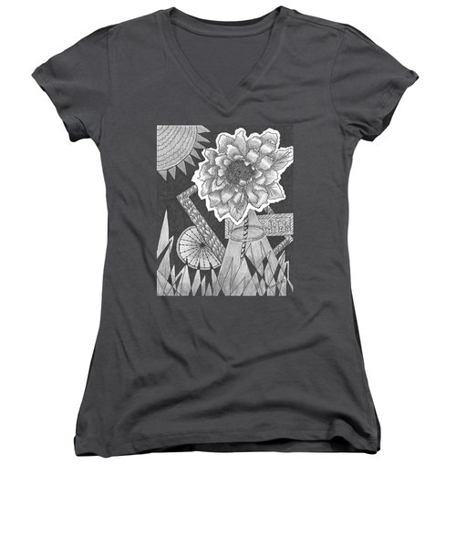 Naturemade And Manmade Shapes Women's V-Neck T-Shirt (Junior Cut) by Quwatha Valentine