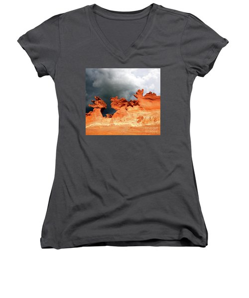 Women's V-Neck T-Shirt (Junior Cut) featuring the photograph Nature's Artistry Nevada by Bob Christopher