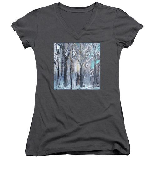 Women's V-Neck T-Shirt featuring the painting Nature's Cathedral by Robin Maria Pedrero