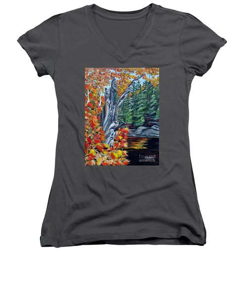 Women's V-Neck T-Shirt (Junior Cut) featuring the painting Natures Faces by Marilyn  McNish