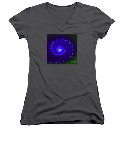 Women's V-Neck T-Shirt (Junior Cut) featuring the digital art Nautilus by Dragica  Micki Fortuna
