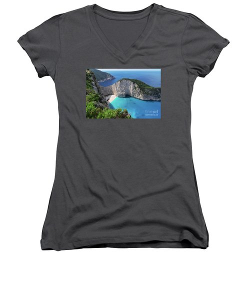 Navagio Beach Women's V-Neck T-Shirt