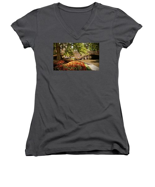 Women's V-Neck T-Shirt (Junior Cut) featuring the photograph Navarro Street Bridge by Steven Sparks