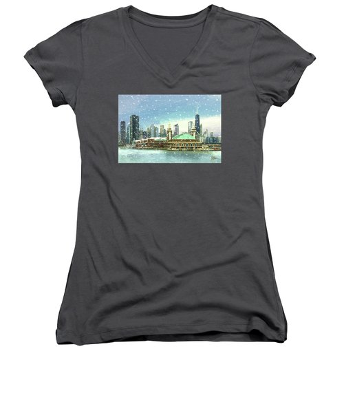 Women's V-Neck T-Shirt (Junior Cut) featuring the painting Navy Pier Winter Snow by Doug Kreuger