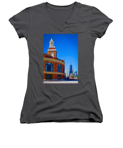 Women's V-Neck T-Shirt (Junior Cut) featuring the photograph Navy Pier With Texture by Kathleen Scanlan