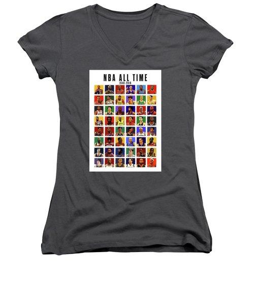 Nba All Times Women's V-Neck T-Shirt (Junior Cut)
