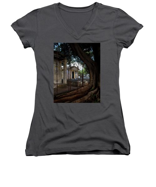 Women's V-Neck T-Shirt (Junior Cut) featuring the photograph Necropolis Cristobal Colon Havana Cuba Cemetery by Charles Harden