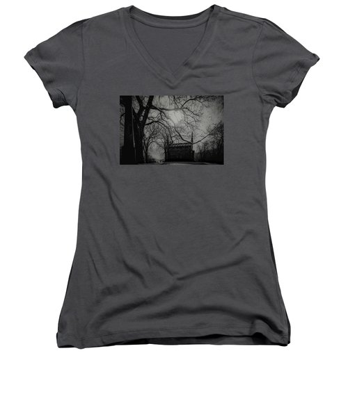 Women's V-Neck T-Shirt (Junior Cut) featuring the digital art Necropolis Nine by Chris Lord