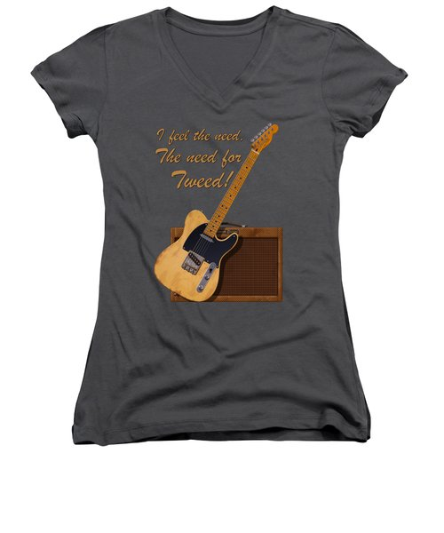 Need For Tweed Tele T Shirt Women's V-Neck (Athletic Fit)