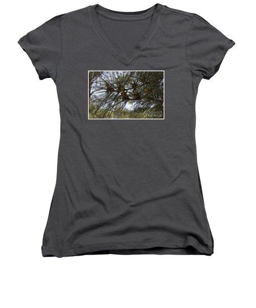 Needles Attached Women's V-Neck T-Shirt (Junior Cut) by Roberta Byram