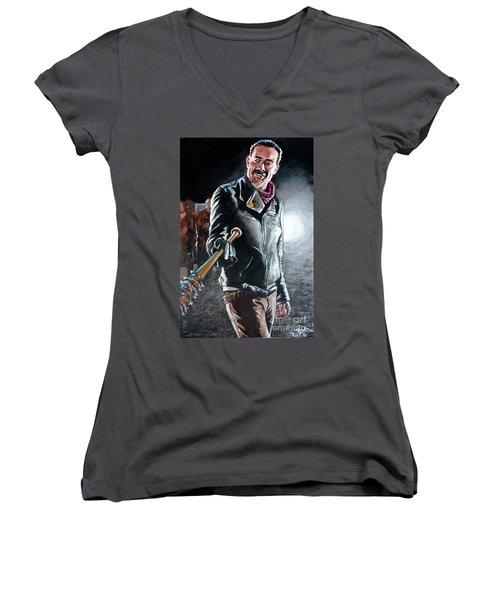 Negan Women's V-Neck T-Shirt (Junior Cut) by Tom Carlton