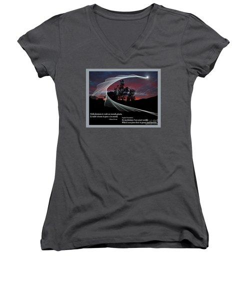 Nella Fantasia Io Vedo Un Mondo Giusto Women's V-Neck T-Shirt (Junior Cut) by Jim Fitzpatrick