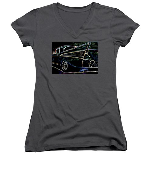 Neon 57 Chevy Bel Air Women's V-Neck T-Shirt