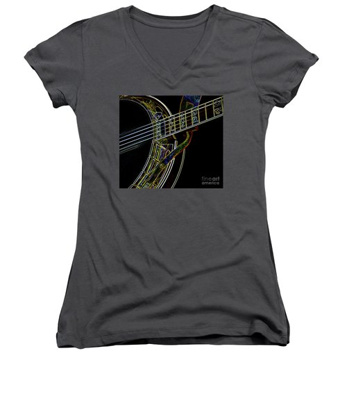 Women's V-Neck T-Shirt (Junior Cut) featuring the photograph Neon Banjo  by Wilma Birdwell