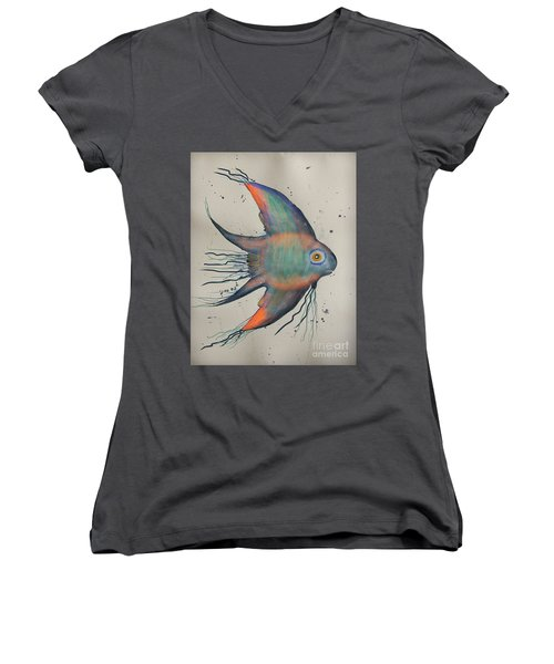 Women's V-Neck T-Shirt (Junior Cut) featuring the mixed media Neon Blue Fish by Walt Foegelle
