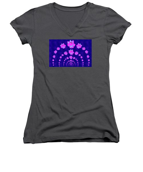 Neon Pink Lotus Arch Women's V-Neck T-Shirt (Junior Cut) by Samantha Thome