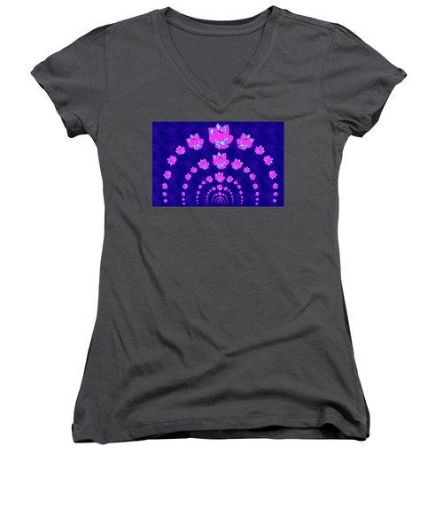 Neon Pink Lotus Arch Women's V-Neck T-Shirt (Junior Cut)