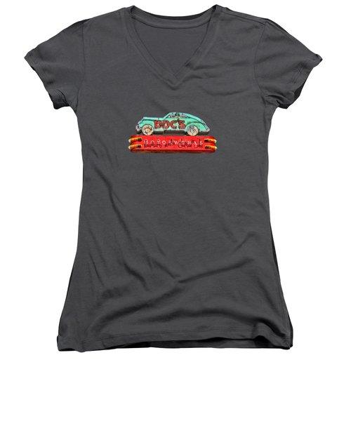 Neon Sign Docs Austin Texas Tee Women's V-Neck T-Shirt (Junior Cut) by Edward Fielding