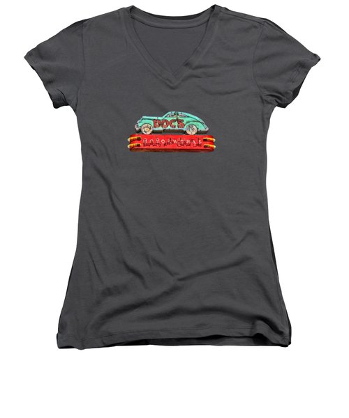Neon Sign Docs Austin Texas Tee Women's V-Neck T-Shirt