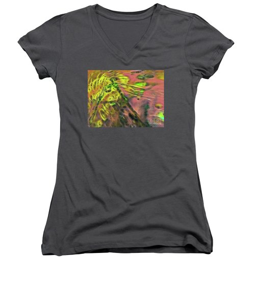 Neon Synapses Women's V-Neck T-Shirt (Junior Cut) by Todd Breitling