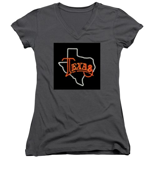 Women's V-Neck T-Shirt (Junior Cut) featuring the digital art Neon Texas by Daniel Hagerman