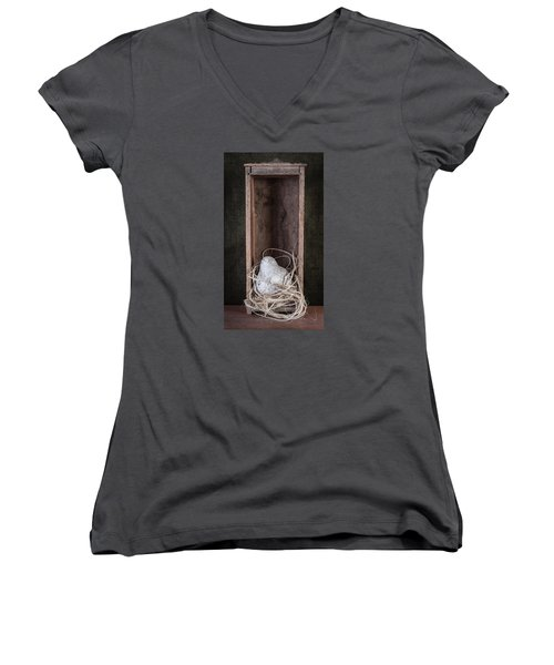 Nesting Bird Still Life Women's V-Neck T-Shirt (Junior Cut) by Tom Mc Nemar