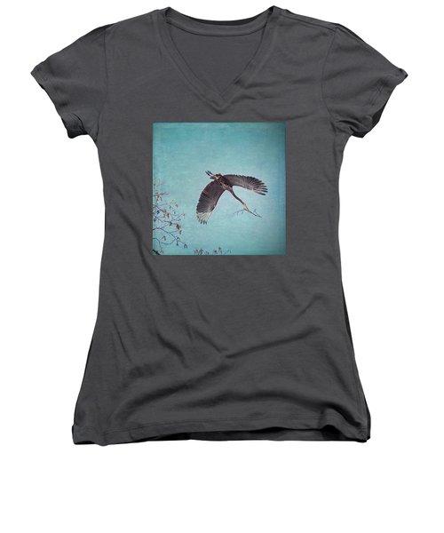 Nesting Heron In Flight Women's V-Neck T-Shirt