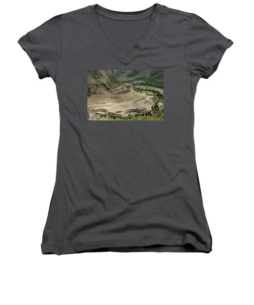 Nestled At The Foot Of A Mountain Women's V-Neck (Athletic Fit)