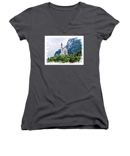 Neuschwanstein Castle With A Glider Women's V-Neck T-Shirt