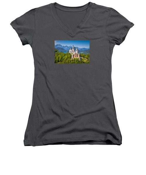 Neuschwanstein Fairytale Castle Women's V-Neck T-Shirt (Junior Cut) by JR Photography