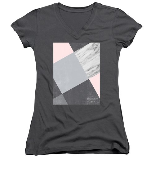 Neutral Collage With Marble Women's V-Neck