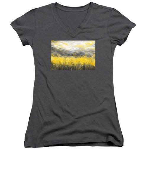Neutral Sun - Yellow And Gray Art Women's V-Neck