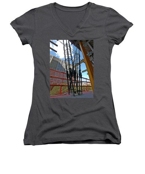 Neuvo Rebar Women's V-Neck T-Shirt (Junior Cut) by Steve Sahm