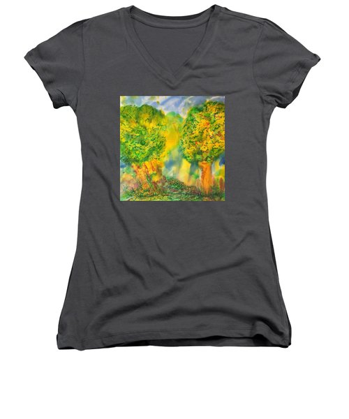 Women's V-Neck T-Shirt (Junior Cut) featuring the painting Never Give Up On Your Dreams by Susan D Moody