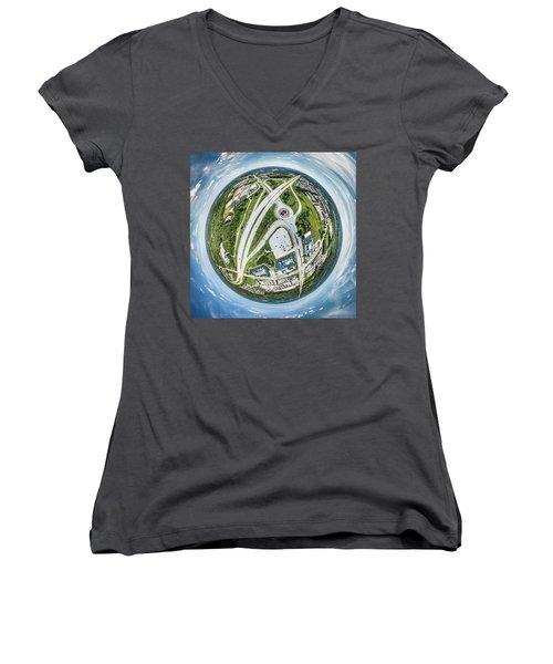 Women's V-Neck T-Shirt featuring the photograph New Berlin Little Planet by Randy Scherkenbach