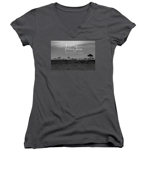 Women's V-Neck T-Shirt (Junior Cut) featuring the photograph New Day On The Mara by Karen Lewis