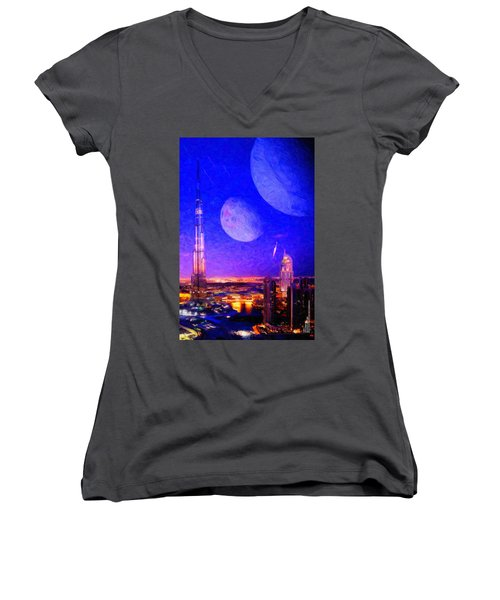 New Dubai On Tau Ceti E Women's V-Neck (Athletic Fit)